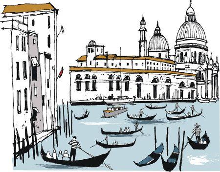 Vector illustration of gondolas and buildings, Venice Italy