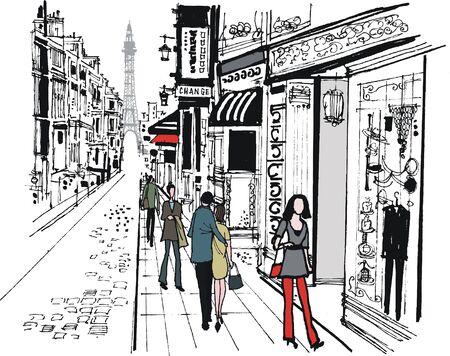 A vector illustration of Paris street scene with romantic couple Ilustrace
