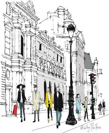 Picturesque old Paris buildings and pedestrians vector illustration.