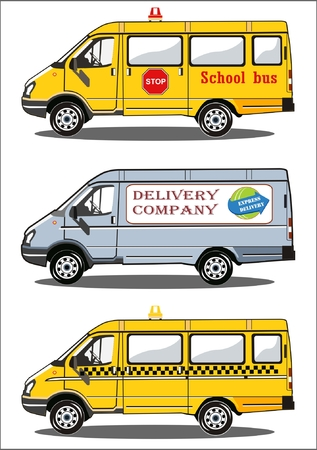Transport, school bus, delivery truck, taxi Çizim