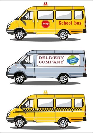 Vervoer, school bus, bestelwagen, taxi
