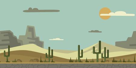 Naadloze oneindige achtergrond voor arcadespel of animatie. Woestijnlandschap met cactus, stenen en bergen op de achtergrond. Vectorillustratie, parallax klaar.
