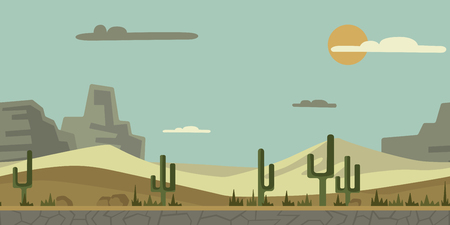 Seamless unending background for arcade game or animation. Desert landscape with cactus, stones and mountains in the background. Vector illustration, parallax ready.