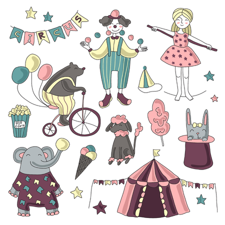 Traveling chapiteau circus. Set of circus performers, trained animals and circus props. Vector illustration on white background.