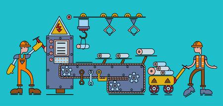 Industriële transportband Riem met mechanische manipulatoren, werktuigmachines en arbeiders in uniform. Vectorillustratie in vlakke stijl.