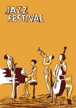 Poster for jazz music festival or concert. Jazz band on orange background.