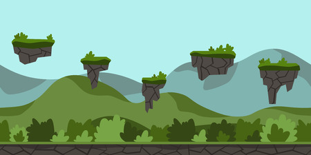 scroller: Seamless unending cartoon background for arcade game or animation. Green hilly landscape with bushes and flying Islands. Vector illustration, parallax ready.