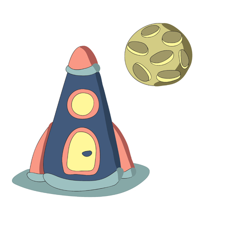 Rocket and the planet, vector illustration in simple style. Isolated on white background.