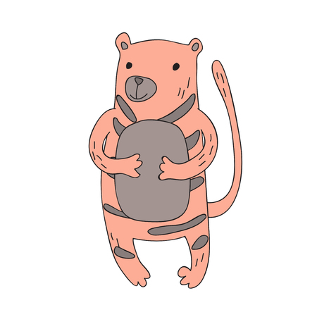 Cute cartoon tiger character, vector illustration in simple style. Isolated on white background.
