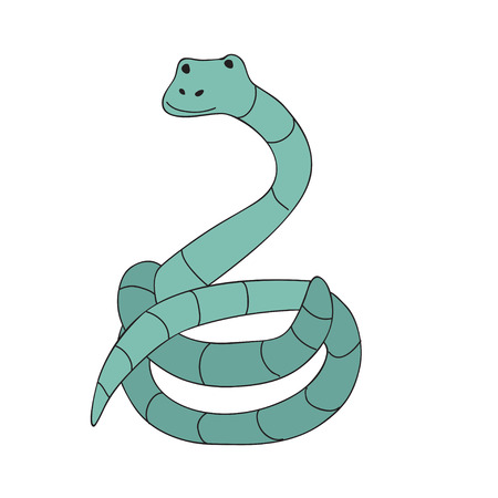 Cute cartoon snake character, vector illustration in simple style. Isolated on white background.