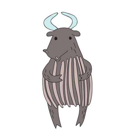 Cute cartoon bull or yak character, vector illustration in simple style. Isolated on white background.