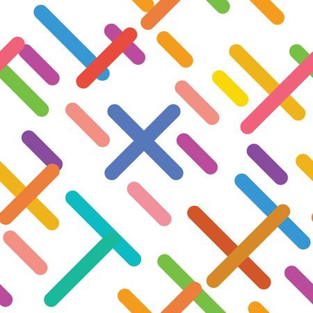 Simple seamless pattern of colorful strokes and lines on white background. Vector illustration.