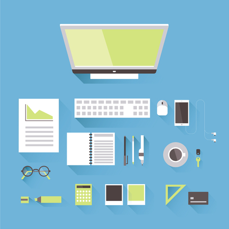A workplace of a business or creative person, top view. Monitor with keyboard and mouse, phone, calculator, cup of coffee and various office accessories. Vector illustration in flat style.