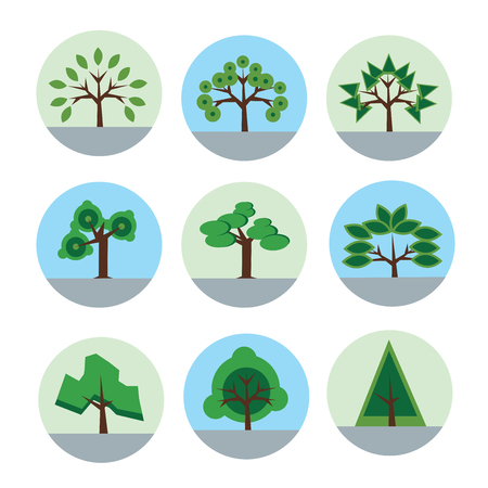 Tree icon set in flat style. Vector logo illustration, isolated on white background.