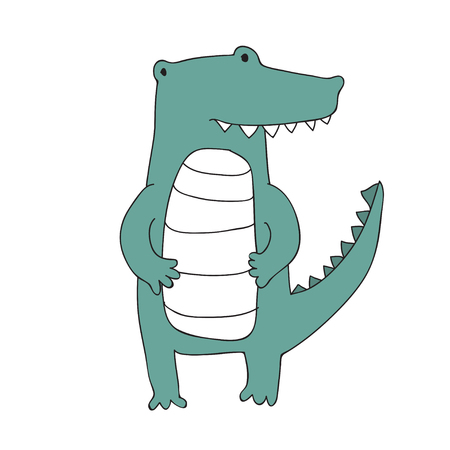 Cute cartoon crocodile character, vector illustration in simple style. Isolated on white background.