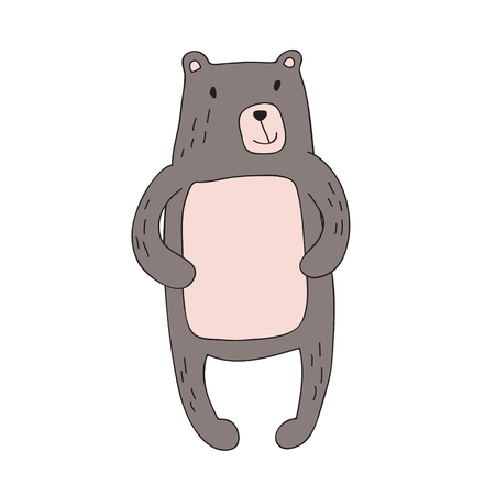 Cute cartoon bear character, vector illustration in simple style. Isolated on white background. Illustration
