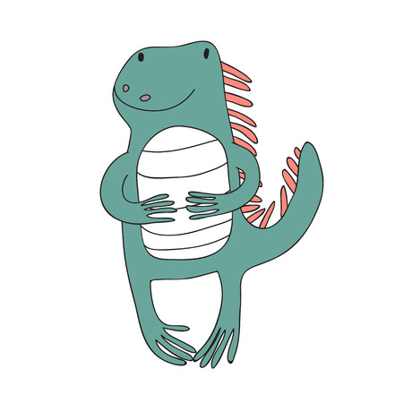 Cute cartoon iguana character, vector illustration in simple style. Isolated on white background.