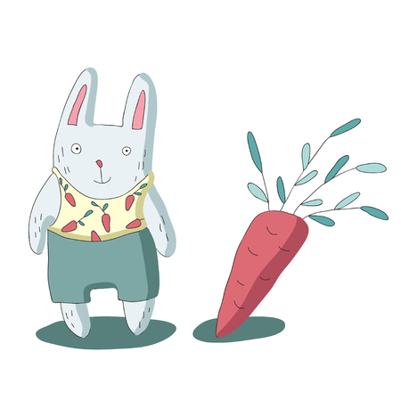 Cute cartoon rabbit character and carrots, vector illustration in simple style. Isolated on white background.
