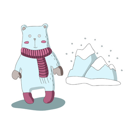 Cute cartoon polar bear character with scarf and snow-capped mountains. Vector illustration in simple style. Isolated on white background. Illustration