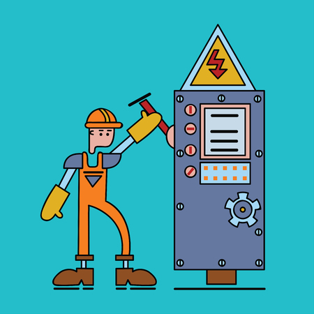 Electrician at work, man in working uniform turns on the switch of power voltage. Electric services, electrical equipment. Vector flat illustration.