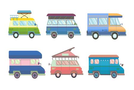 Set di vari minivan e camper in stile piatto. Illustrazione vettoriale, isolato su sfondo bianco.