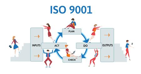 Sistema di gestione della qualità ISO 9001. Diagramma trattato con uomini e donne d'affari. Illustrazione vettoriale, isolato su sfondo bianco. Archivio Fotografico - 80523230