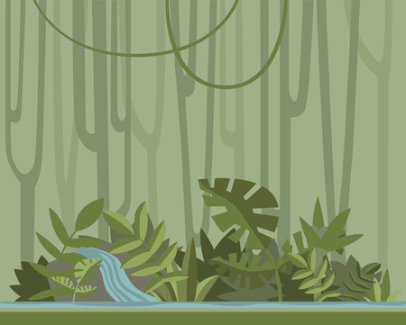 Green jungle forest with river. Vector background illustration.