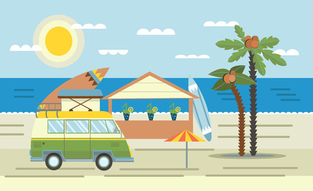 Pink mini van with surf Board on the roof on the sea and beach bar. Vector illustration in flat style.