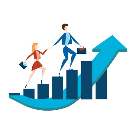 Business man and woman with briefcases walking up a rising graph of income growth. Vector illustration, isolated on white background. Stok Fotoğraf