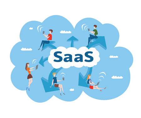 Concept of SaaS, software as a service. Men and women work in the cloud software on computers and mobile devices. Vector illustration, isolated on white background.
