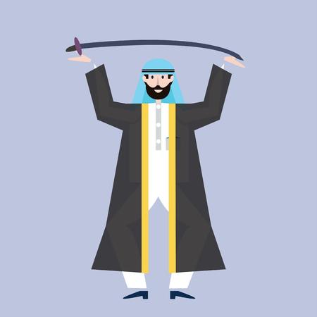 Arab man in black arabian national dress holding a sword over head. Vector illustration.