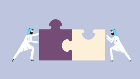 Two arab businessmen in national dress pushing the pieces of puzzles. The concept of joint problem solving, teamwork, cooperation. Vector isolated illustration.