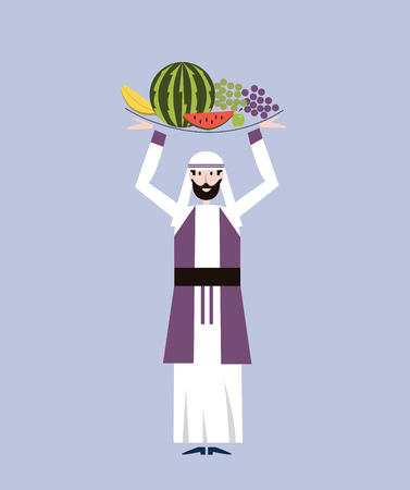 middle eastern food: Arab merchant man in national clothes is holding a tray with fruit over his head. Vector illustration.