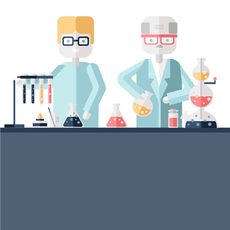 Two scientist chemists in white lab coats in a scientific laboratory. Man and woman make a chemical experiment with substances in test tubes and flasks. Vector illustration in flat style. Illustration
