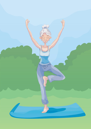 An elderly gray-haired woman practice yoga outdoors, standing on one leg. Active lifestyle and sport activities in old age. Vector illustration. Illustration
