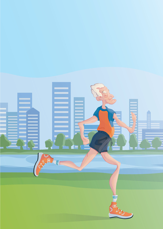 An elderly gray-haired man practice Jogging outdoors. Active lifestyle and sport activities in old age. Vector illustration. Illustration