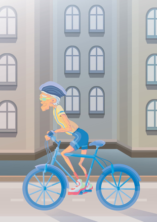 An elderly gray-haired man riding a Bicycle on city street. Active lifestyle and sport activities in old age. Vector illustration.
