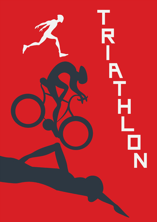 flat iron: Poster for triathlon competitions. Vector illustration with runner, cyclist and swimmer on red background. Illustration