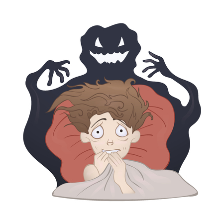 Frightened Boy in bed and the creepy shadow monster. Fear of the dark, nightmare. Vector illustration, isolated on white background.
