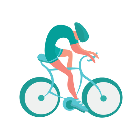 Cyclist icon. Bicycling vector illustration, isolated on white background.