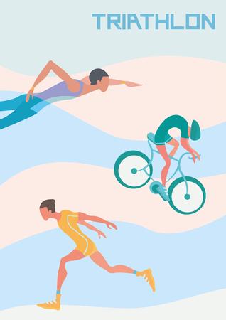Affiche voor triatlonwedstrijden. Vectorillustratie met runner, wielrenner en zwemmer. Stock Illustratie