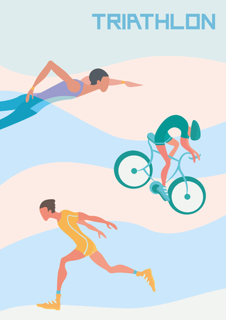 flat iron: Poster for triathlon competitions. Vector illustration with runner, cyclist and swimmer.