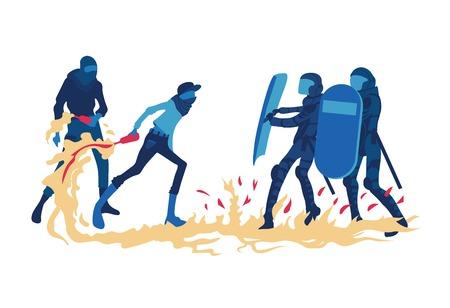Rivolte e proteste di strada. Protestare uomini con un cocktail Molotov si scontra con la polizia. Illustrazione vettoriale, isolato su sfondo bianco. Archivio Fotografico - 80903604
