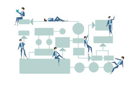 Diagrama de flujo de negocios, diagrama de gestión de procesos con caracteres de hombre de negocios. Ilustración del vector, aislada en el fondo blanco.