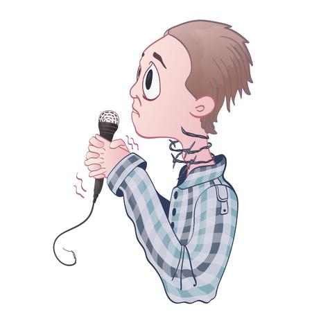 Angst vor öffentlichem Reden, Glossophobie. Aufregung und Sprachverlust. Junger Mann mit Mikrofon und Stacheldraht am Hals. Vektorabbildung, getrennt auf weißem Hintergrund.