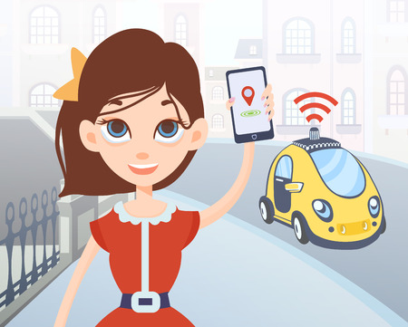using smartphone: Woman ordering driverless taxi using mobile application. Cartoon female character with smartphone in hand and car on city street background. Vector illustration. Illustration