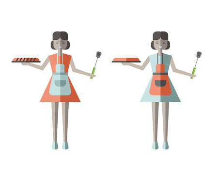 homemaker: Housewife woman holding Fresh Baked Pie. Illustration