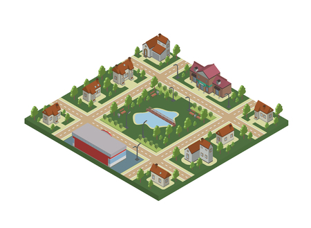 suburbia: Isometric map of small town or cottage village Private houses, trees and pond or lake.
