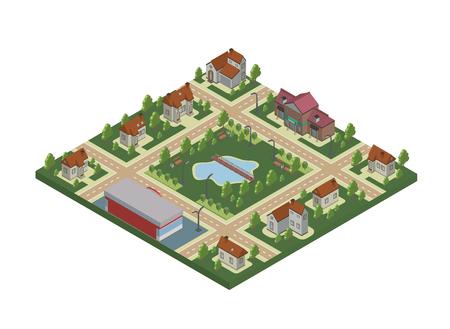 Mapa isométrico de pueblo pequeño o pueblo de cabaña Casas privadas, árboles y estanque o lago.