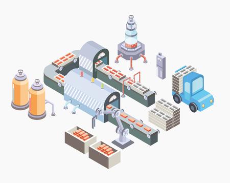 Factory floor with conveyor and various machines. Stock Illustratie